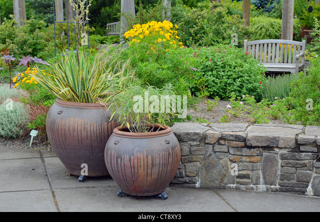 Two Ceramic Garden Pots On The Patio   Stock Image