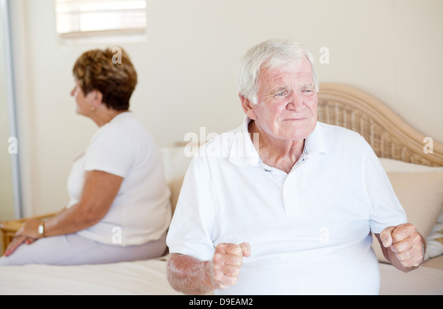 senior relationship problem   Stock Image. Husband And Wife And Argue And Bedroom Stock Photos   Husband And