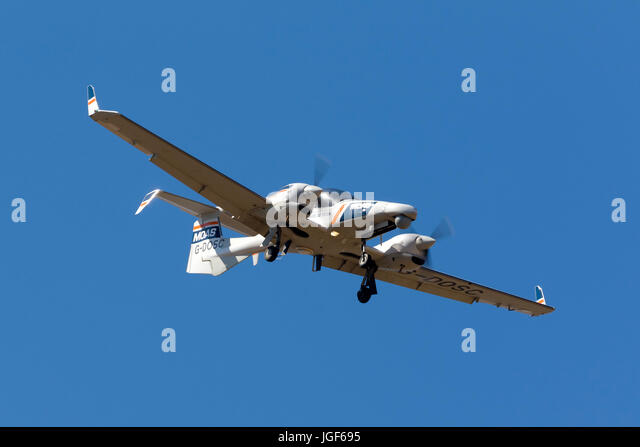 Luqa, Malta - July 6, 2017: Diamond DA-42 MPP Guardian [G-DOSC] operated by MOAS (Migrant Offshore Aid Station) - Stock Image