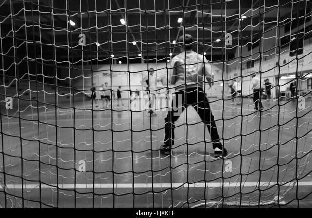 Seamless Vinyl Photography Backdrop Football Stadium Match: Football Goal Post Black And White Stock Photos & Images