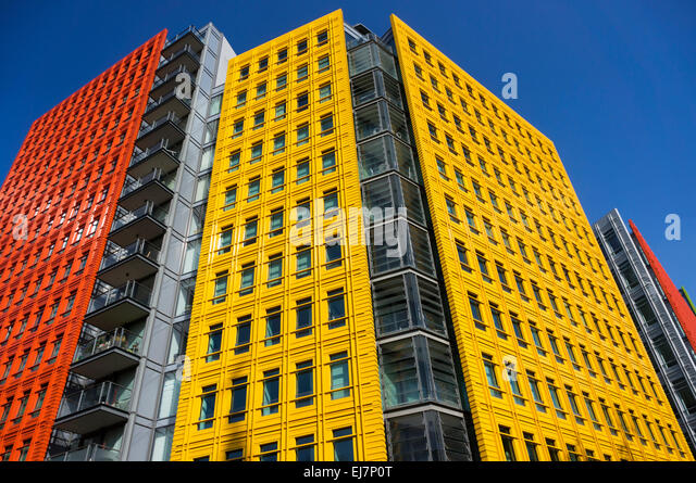 colourful cladding on the central st giles mixed use development in central london designed brightly colored offices central st