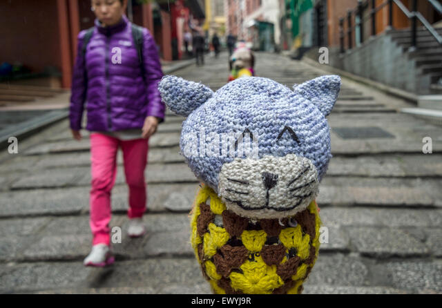 Knitting Yarn Hong Kong : Yarn bombing stock photos images alamy