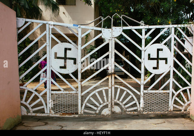 ornate wrought iron gate. ornate wrought iron gate with swastika pattern stock image y