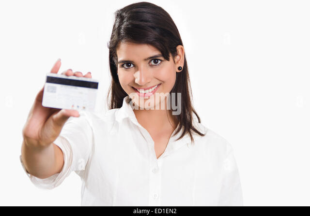 Indian lady showing credit card stock photos indian lady showing 1 indian business woman showing credit card stock image reheart Choice Image