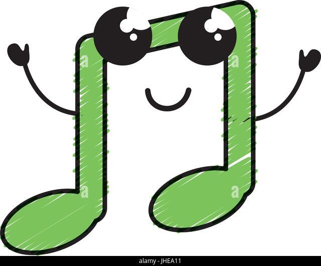 Music Note Kawaii Character Vector Stock Photos Music Note Kawaii