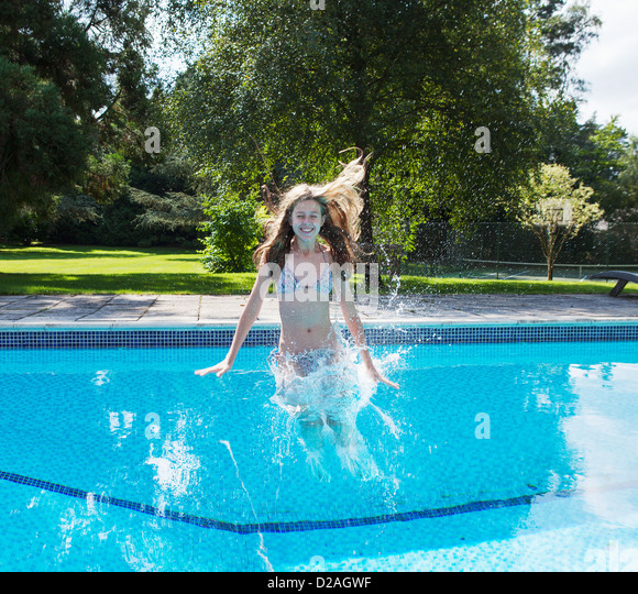 Child Jumping Pool Stock Photos Child Jumping Pool Stock Images Alamy