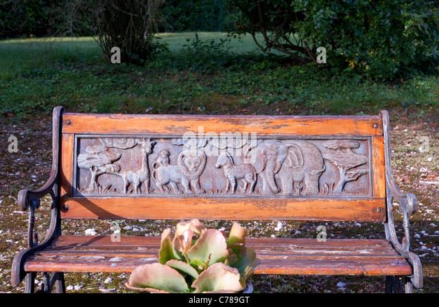 garden furniture for children in french hotel garden stock image