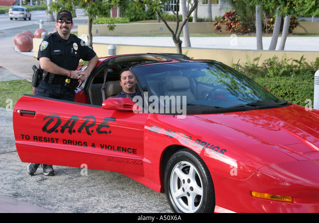 North Miami Beach Florida Police Department DARE Anti Drug Promotion Red  Sports Car   Stock Image