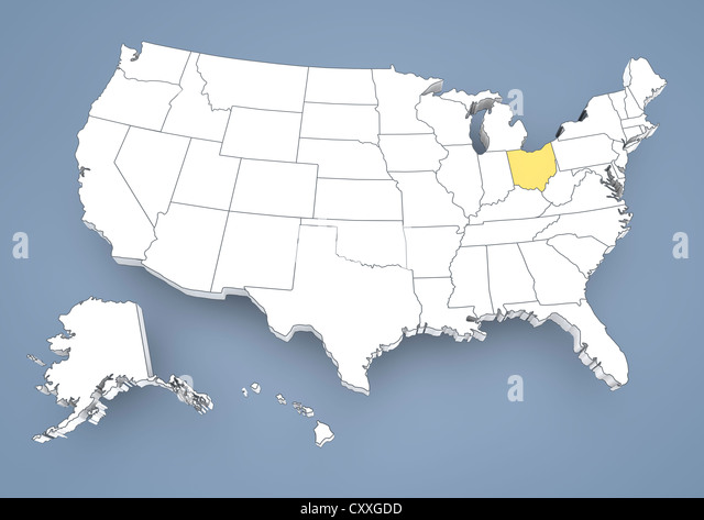 Usa map states ohio
