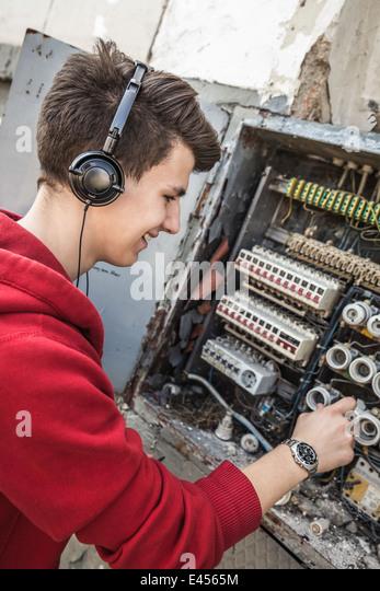 fuse box fuse stock photos fuse box fuse stock images alamy teenage boy using electrical fuse box like dj console stock image
