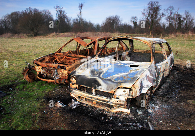 wrecked cars stock image