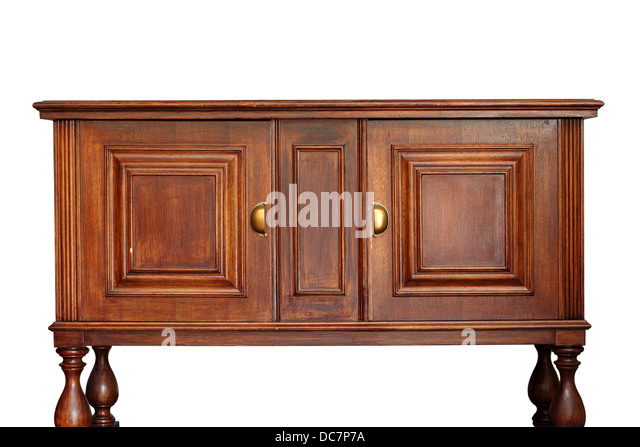 Very Old Rare Wooden Furniture Isolated Over White Background   Stock Image