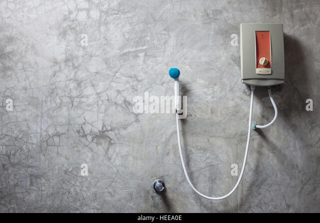 Old water heater on the grey cement wall in bathroom   Stock Image. Old Bathroom Water Heater Stock Photos   Old Bathroom Water Heater