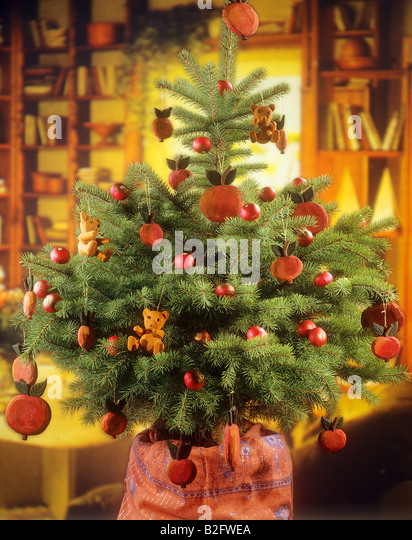 Christmas tree decorated with apples stock photos for Apple tree decoration