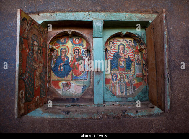 Ethiopian coptic orthodox church painting stock photos for Church mural restoration