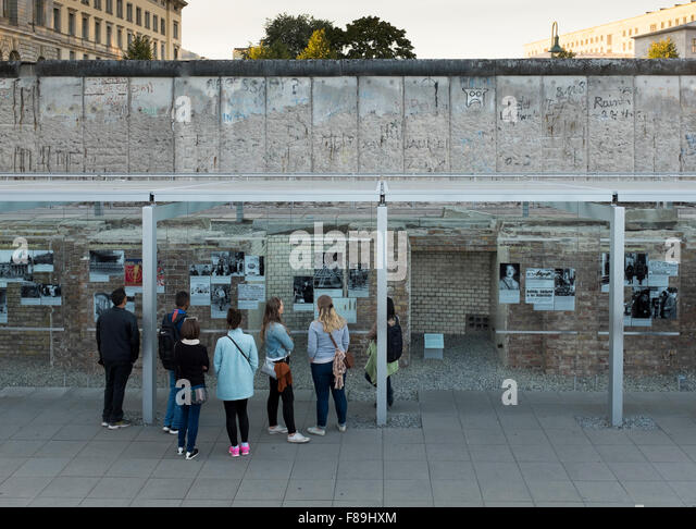 Exhibition topography of terror berlin wall germany stock image