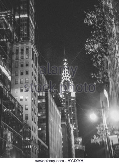 chrysler building black and white. street view of chrysler building at night stock image black and white