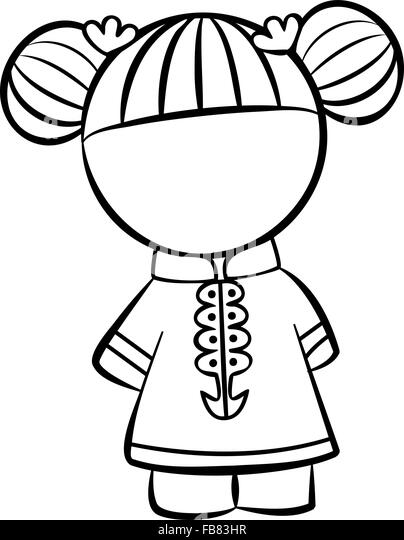 Line Drawing Little Girl : Cute little girl outline drawing stock photos