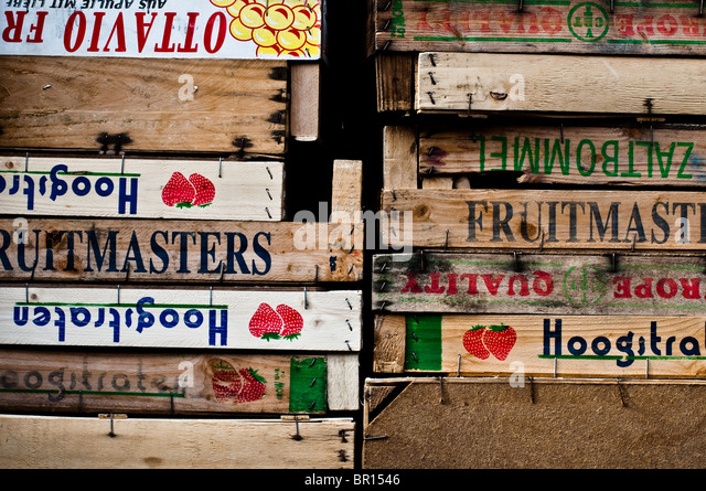 European Wooden Fruit And Vegetable Crates Used From Transport From Farm To  Ridley Road Market In