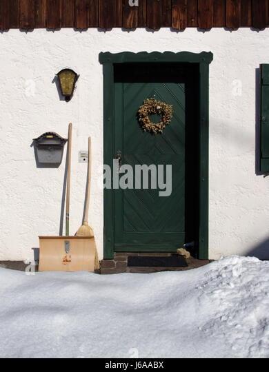 Winter Entrance Door Mailbox Front Door Broom Mailboxes Snow Winter Green  Cold   Stock Image