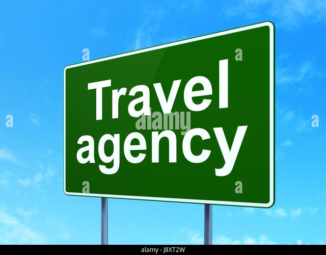 Travel Concept Agency On Road Sign Background