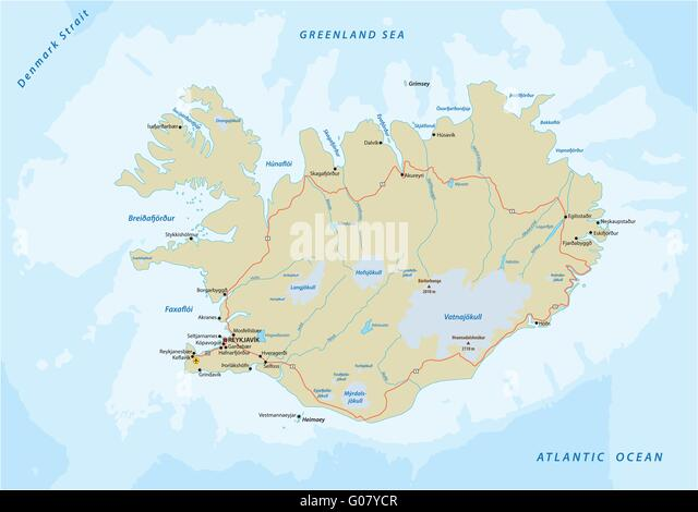 Iceland country map stock photos iceland country map stock road map iceland stock image gumiabroncs Images