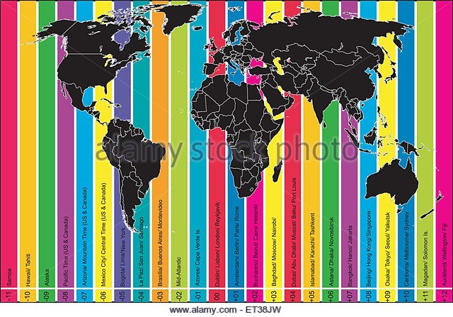 World Time Zone Map Stock Photos World Time Zone Map Stock - Us map colored by time zone