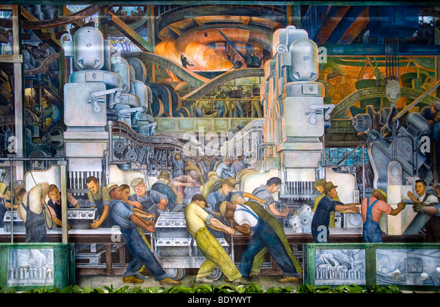 Diego rivera mural stock photos diego rivera mural stock for Detroit mural factory