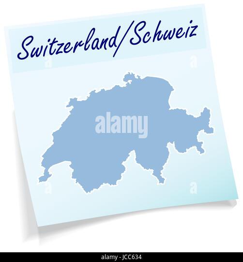 Schweiz als Notizzettel in Blau - Stock Image