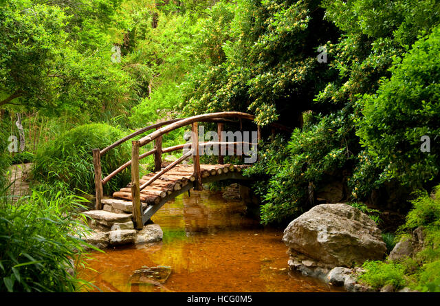 Garden Bridge, Zilker Botanical Garden, Austin, Texas   Stock Image