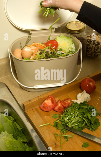 organic recycling kitchen compost pail stock image