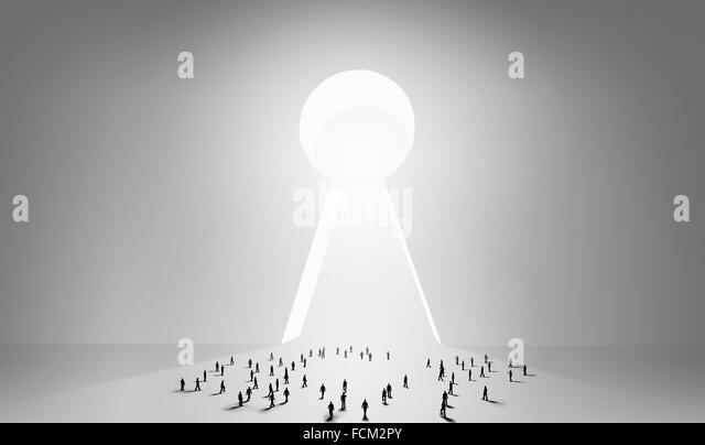 Many silhouettes of people and keyhole doorway - Stock Image & Many Silhouettes People Keyhole Doorway Stock Photos u0026 Many ... pezcame.com
