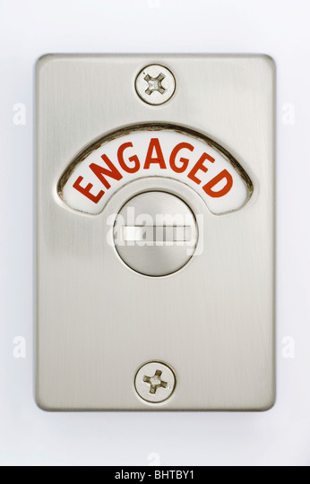 A Toilet Door Lock Showing Engaged  Stock Image