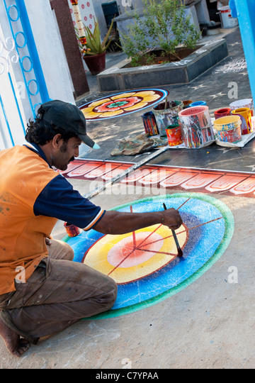 Indian People Traditional Painting On Stock Photos