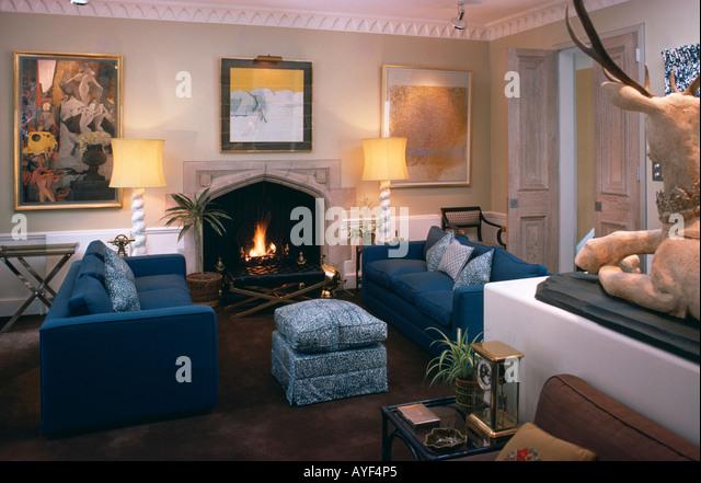 Interiors Livingroom Fireplace Picture Stock Photos   Interiors   Seventies livingroom with blue furniture   Stock Image. Blue Furniture Living Room. Home Design Ideas