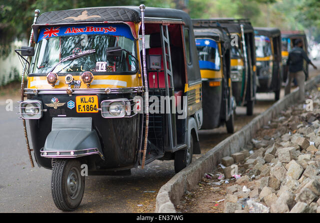 Auto Rickshaw For Rent In Trivandrum: Auto Rickshaws Kerala Stock Photos & Auto Rickshaws Kerala