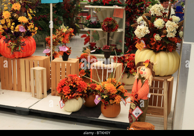 halloween decorations for sale in a canadian store stock image