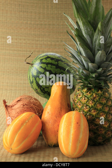 ... fruit display, coconut, watermelon, pineapple, papaya, korean melon