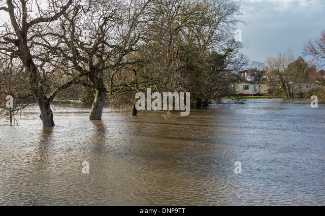 Iford Bridge Home Park Christchurch And Rising Flood Levels Of The River Stour Dorset