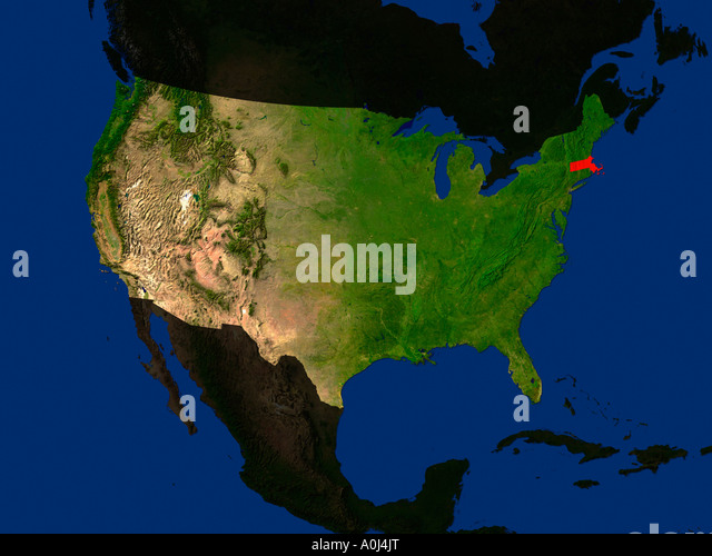 Map Satellite Geography Massachusetts Stock Photos Map Satellite - Us map massachusetts highlighted