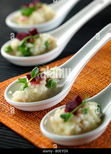 Italian risotto fine dining editorial stock photos for Canape spoons australia