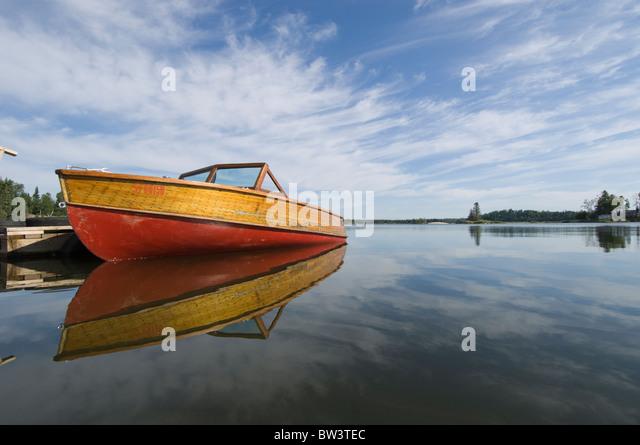 Mahogany Motor Boat On Gunn Lake Ontario Canada