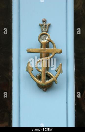 Anchor Door Knocker on Blue Door - Stock Image & Anchor Door Knocker Stock Photos \u0026 Anchor Door Knocker Stock ... Pezcame.Com