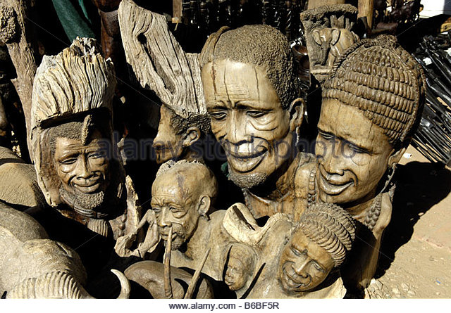 Wood carvings namibia africa stock photos