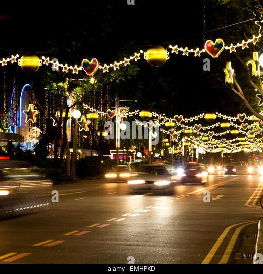 Orchard Road Singapore Christmas Lights Stock Photos