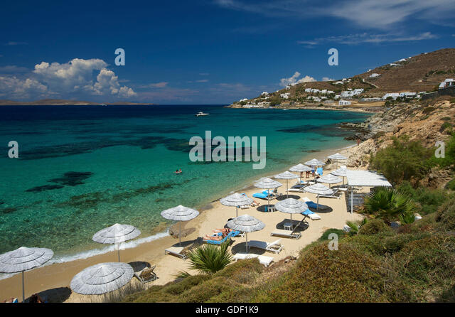 Best Island Beaches For Partying Mykonos St Barts: Agios Ioannis Stock Photos & Agios Ioannis Stock Images