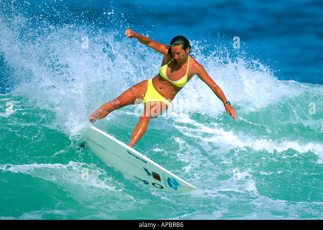 female surfer agility and concentration layne beachley hawaii usa stock image