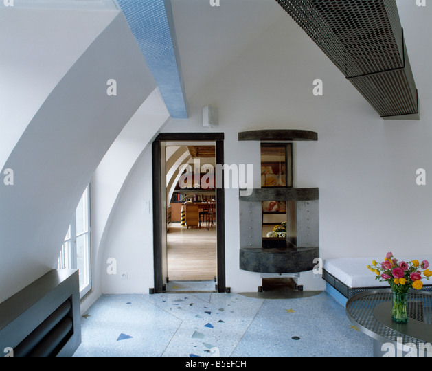 Modern White Attic Hall With Grey Flooring   Stock Image