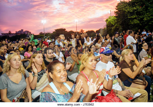 Miami Beach Florida North Northshore Park Hispanic Heritage Festival Audience Watching Performance Woman Man