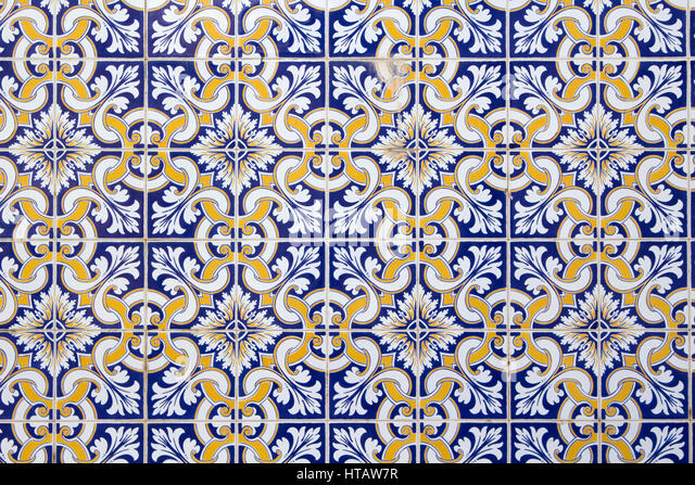 Background of traditional blue white and gold portuguese tiles stock image